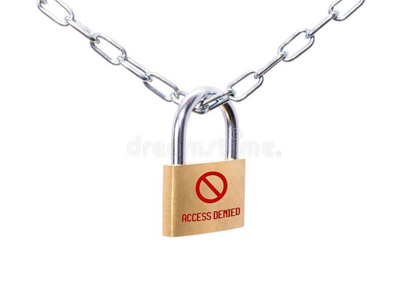 Запертый padlock и цепь при отказанный доступ знака стоковые изображения rf