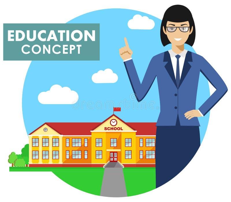 записывает старую принципиальной схемы изолированная образованием Детальная иллюстрация учителя на предпосылке с школьным зданием бесплатная иллюстрация