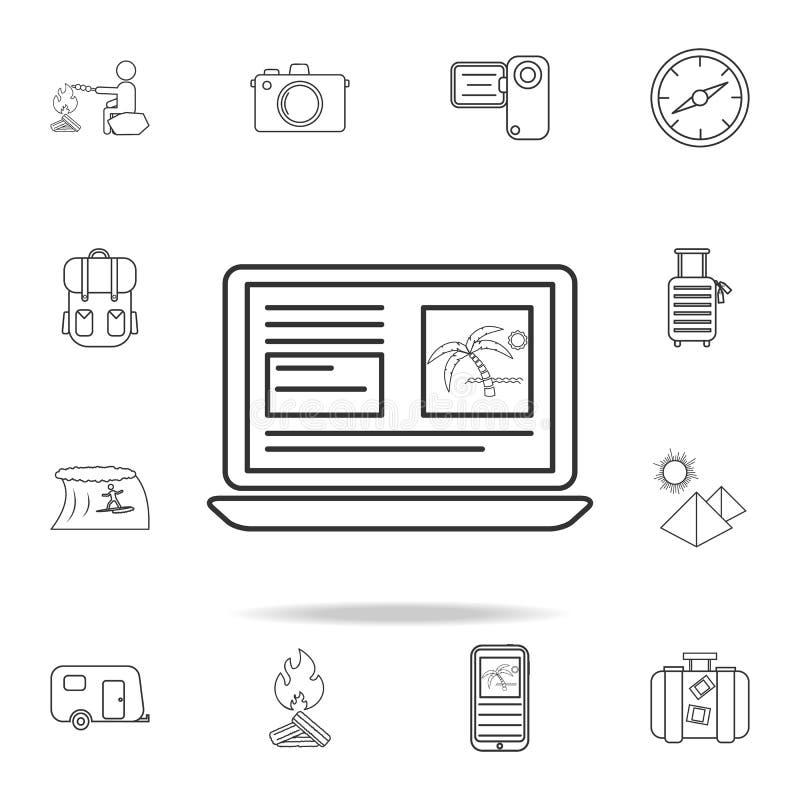 записывая онлайн линия значок Комплект значков туризма и отдыха Знаки, собрание мебели плана, простая тонкая линия значки для web иллюстрация вектора