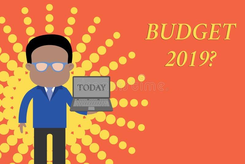 Запись вопроса о бюджета 2019 показа примечания Оценка фото дела showcasing прихода и расхода для в следующем году иллюстрация штока
