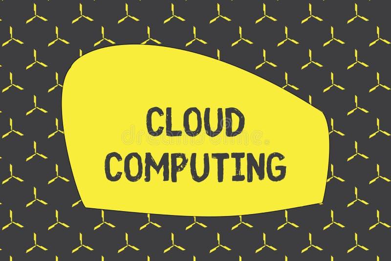 Запись вычислять облака показа примечания Showcasing фото дела использует сеть удаленных серверов, который хозяйничают в Интернет иллюстрация вектора