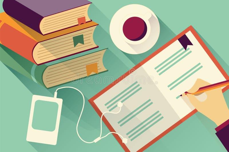 Запись в предпосылку тетради с стогом книг иллюстрация вектора