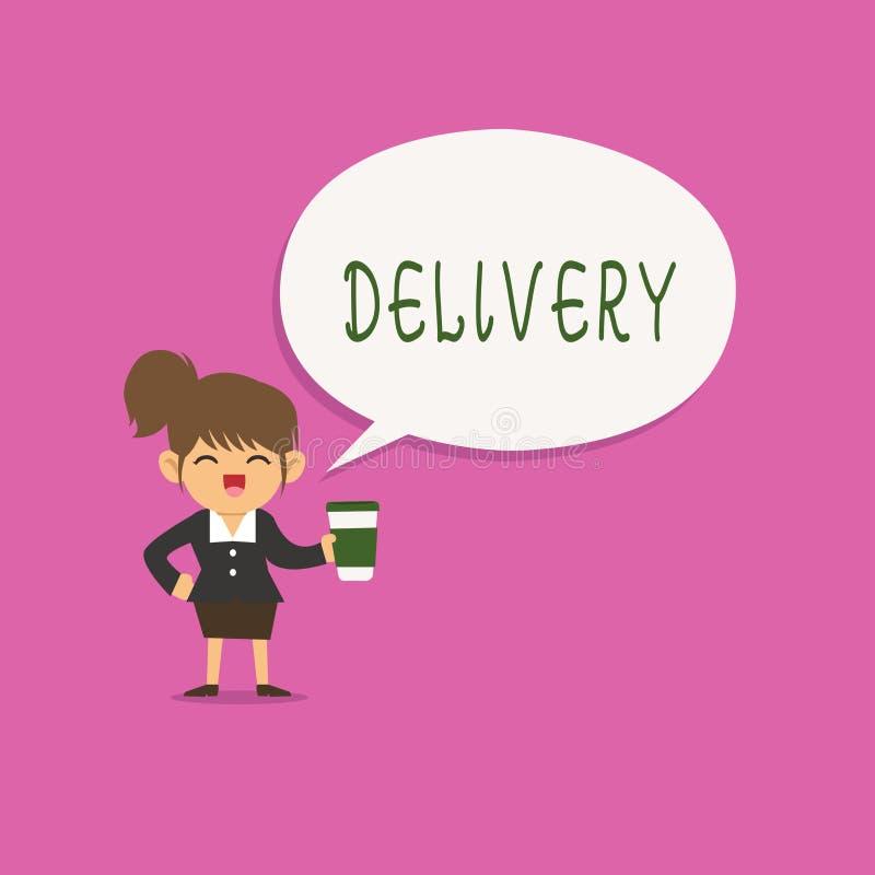 Запись доставки показа примечания Действие фото дела showcasing поставлять пакеты или товары писем давая рождение иллюстрация штока