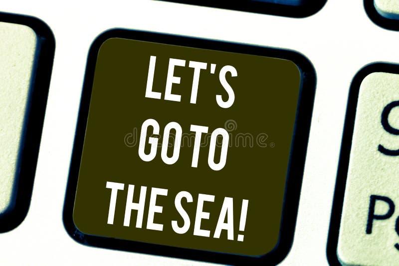 Запись показа примечания позволила s идет к морю Приглашение фото дела showcasing иметь каникулы в пляже рая стоковые фото