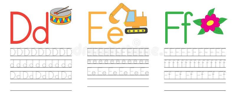 Запись практики писем d, e, f голубая икона образования детей Vecto иллюстрация вектора