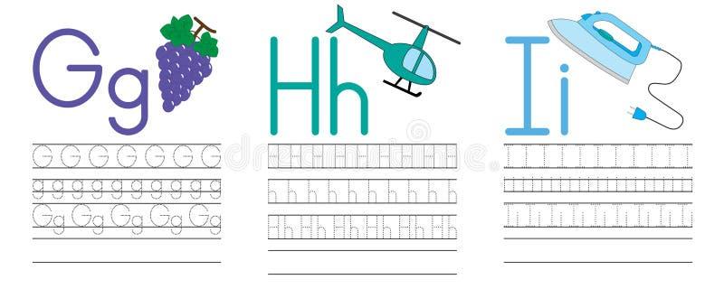 Запись практики писем g, h, I голубая икона образования детей Vecto иллюстрация штока