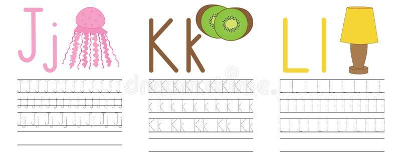 Запись практики писем j, k, l голубая икона образования детей иллюстрация штока