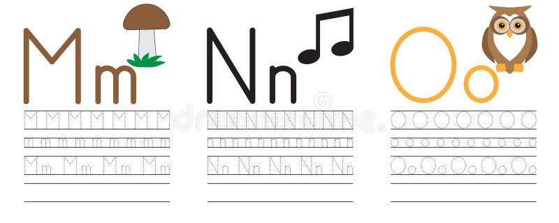 Запись практики писем m, n, o голубая икона образования детей иллюстрация вектора