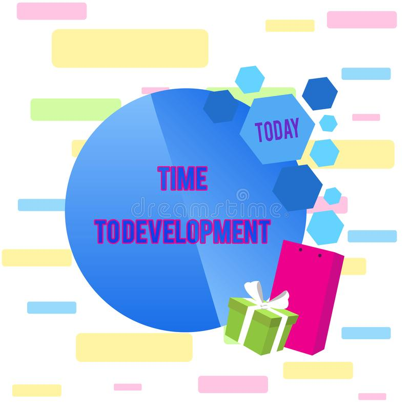 Запись примечания показывая время в развитие Фото дела showcasing отрезок времени во время которого компания растет или иллюстрация вектора