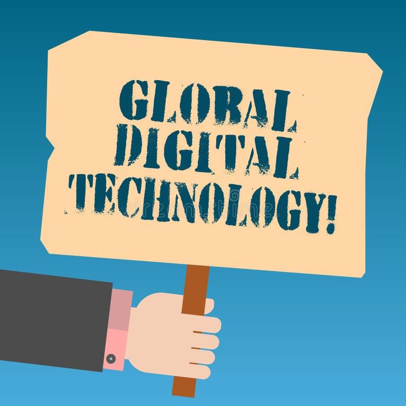 Запись примечания показывая глобальную цифровую технологию Фото дела showcasing переведенная в цифровую форму информация в форме  иллюстрация штока