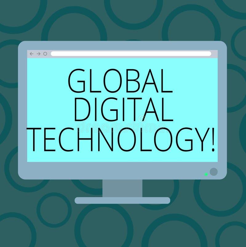 Запись примечания показывая глобальную цифровую технологию Фото дела showcasing переведенная в цифровую форму информация в форме  иллюстрация вектора