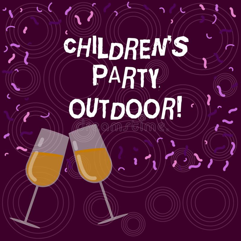 Запись примечания показывая детям s партия на открытом воздухе Праздненство детей фото дела, который showcasing держат вне дома з иллюстрация вектора