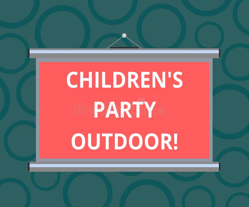 Запись примечания показывая детям s партия на открытом воздухе Праздненство детей фото дела, который showcasing держат вне стены  иллюстрация вектора