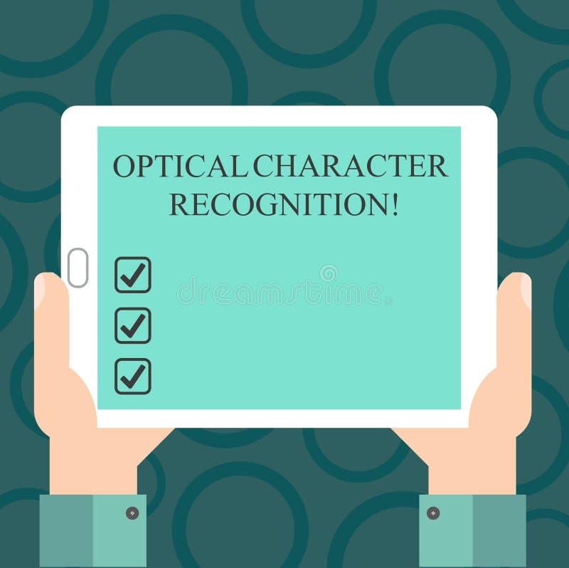 Запись примечания показывая оптическое распознавание знаков Фото дела showcasing идентификация напечатанных характеров иллюстрация вектора