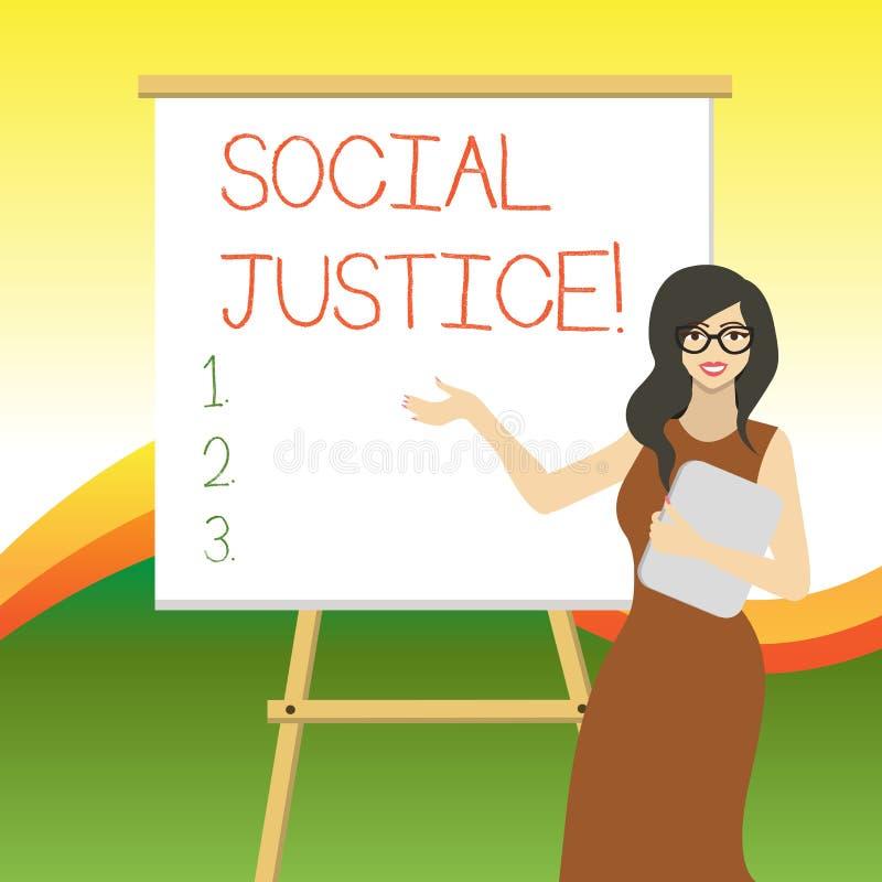 Запись примечания показывая социальную справедливость Фото дела showcasing равный доступ к богатству и привилегиям внутри обществ иллюстрация штока