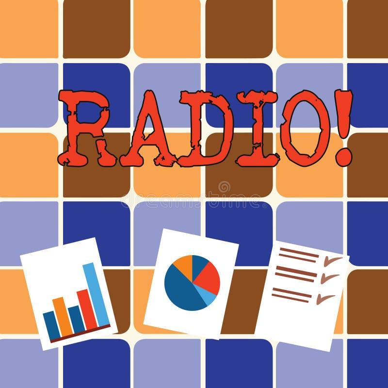 Запись радио показа примечания Радиотехническая аппаратура фото дела showcasing используемая для слушать программы передач иллюстрация вектора