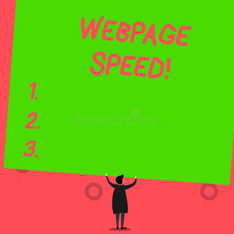 Запись скорости Веб-страницы показа примечания Фото дела showcasing как быстро потребители могут увидеть и взаимодействовать с бесплатная иллюстрация