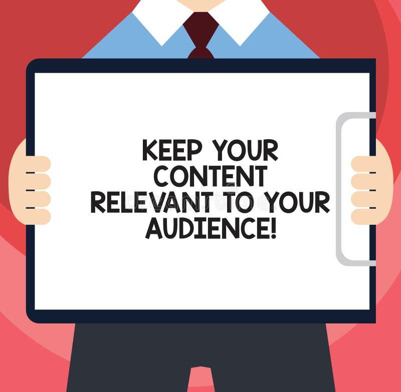 Запись текста почерка держит ваше содержание уместный к вашей аудитории Маркетинговые стратегии смысла концепции хорошие укомплек иллюстрация вектора
