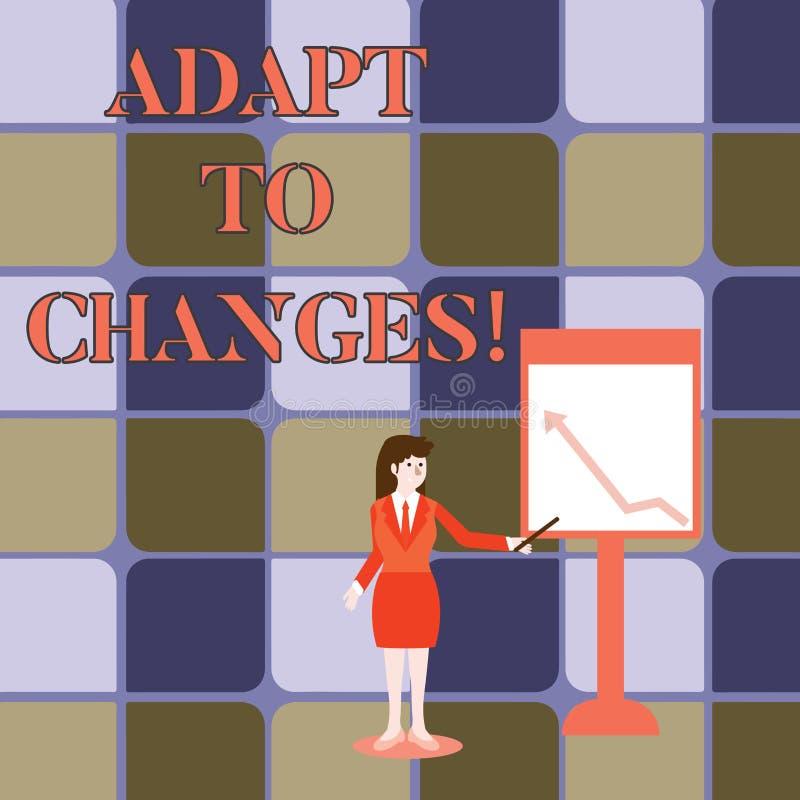 Запись текста почерка приспосабливается к изменениям Приспособление изменений смысла концепции новаторское с технологическим разв иллюстрация вектора