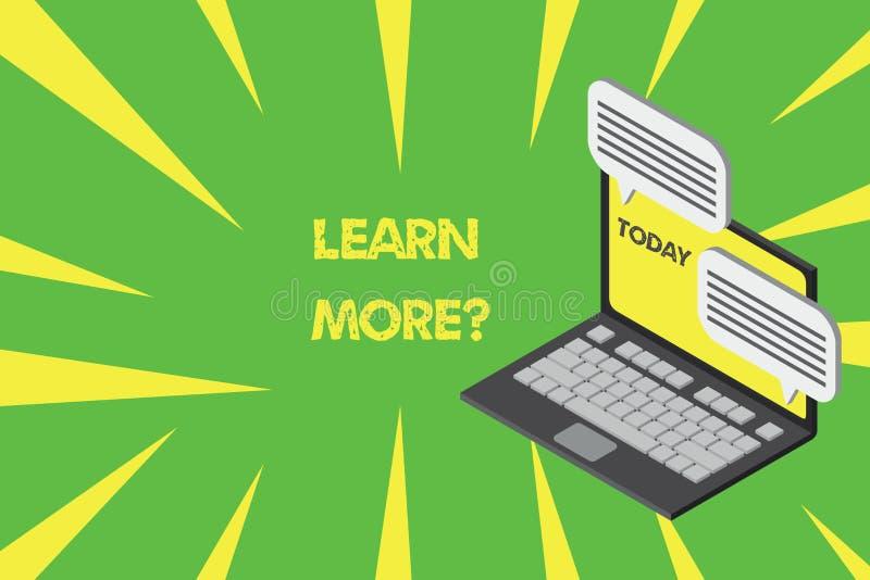 Запись текста почерка учит больше вопроса Концепция знача знание или навык увеличения изучая практикуя ноутбук иллюстрация штока