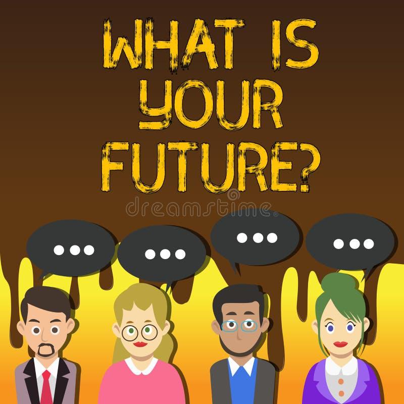 Запись текста почерка что ваше Futurequestion Концепция знача где вы видите в следующей группе лет иллюстрация вектора