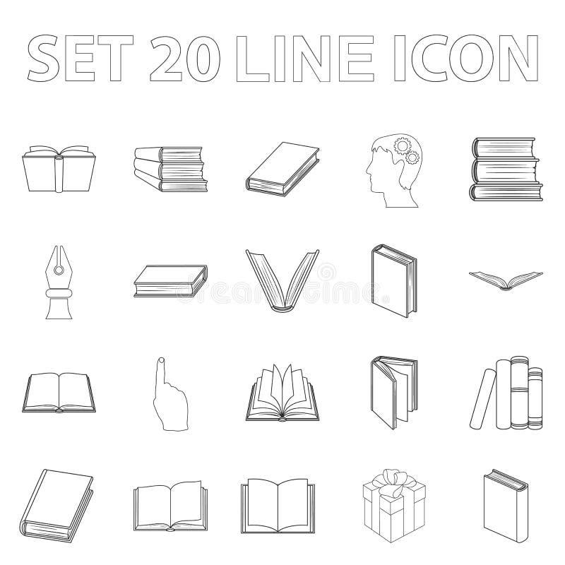 Запишите в binding значках плана в собрании комплекта для дизайна Напечатанная иллюстрация сети запаса символа вектора продуктов иллюстрация штока