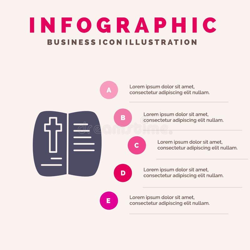 Запишите, раскройте, пасха, предпосылка представления шагов Infographics 5 значка природы твердая бесплатная иллюстрация