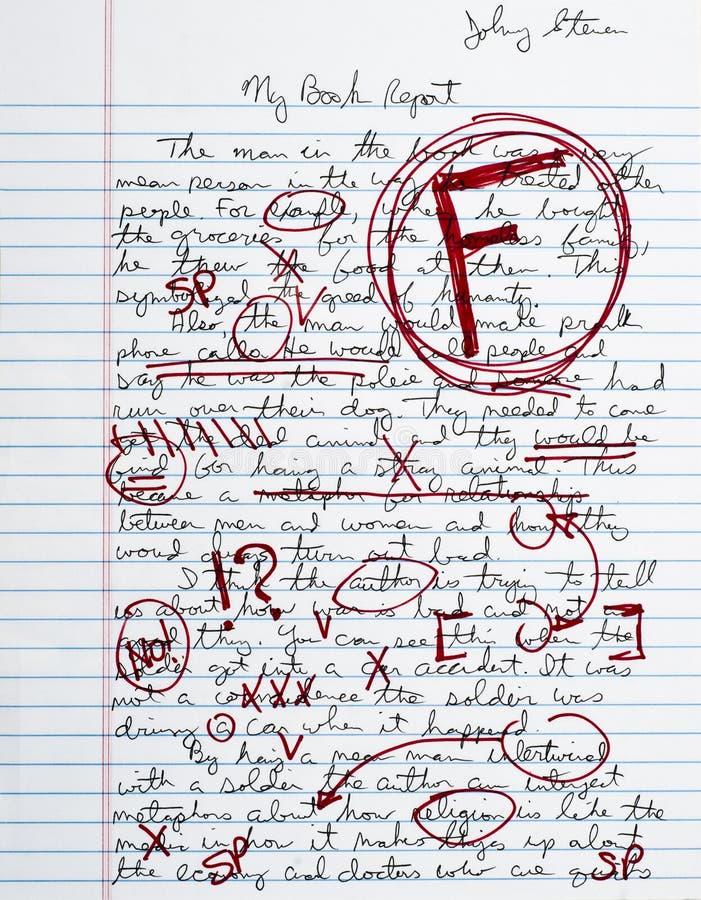 запишите термин школы отчете о бумаги ранга слабости эсса стоковое фото