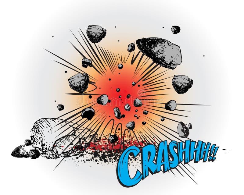 запишите шуточный взрыв аварии иллюстрация штока