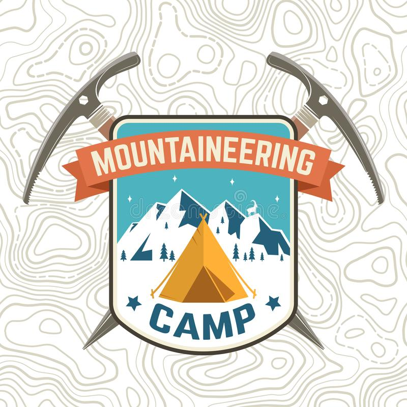 Заплата лагеря альпинизма r Концепция для рубашки или значка высокогорного клуба, печати, печати или тройника r бесплатная иллюстрация