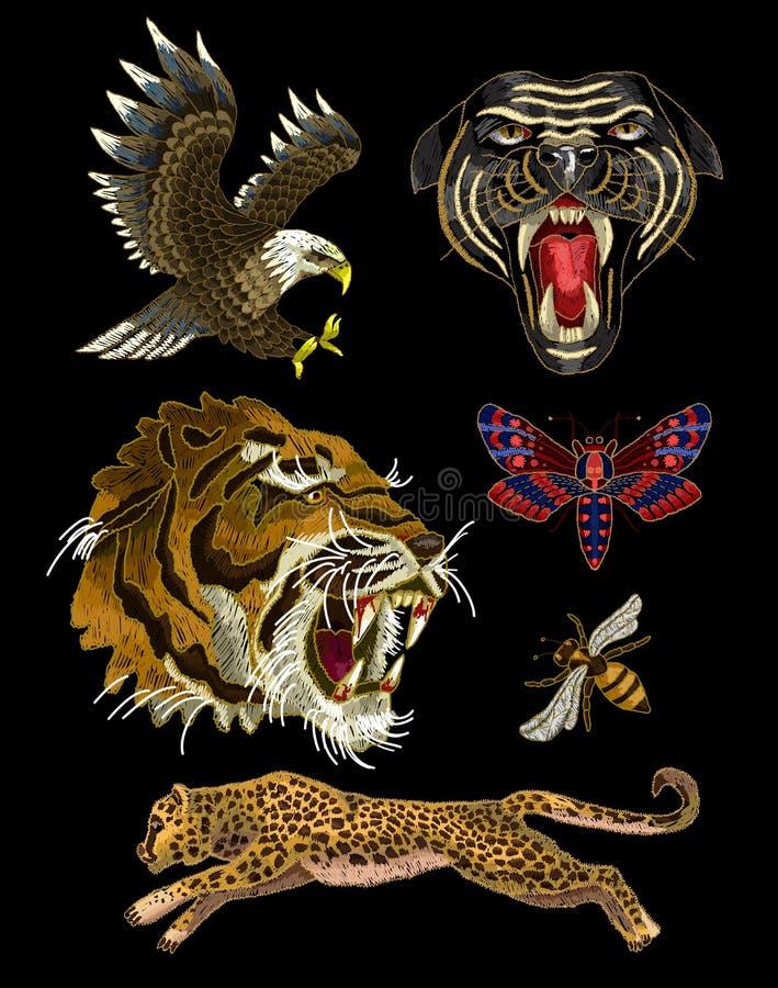 Заплаты вышивки тигра, пчелы, бабочки, орла, леопарда и пантеры для ткани конструируют иллюстрация вектора