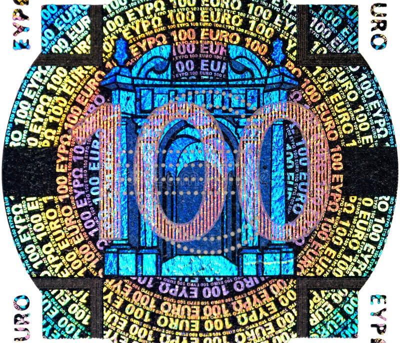 заплаты евро кредитки голографическая 100 одного стоковые фото