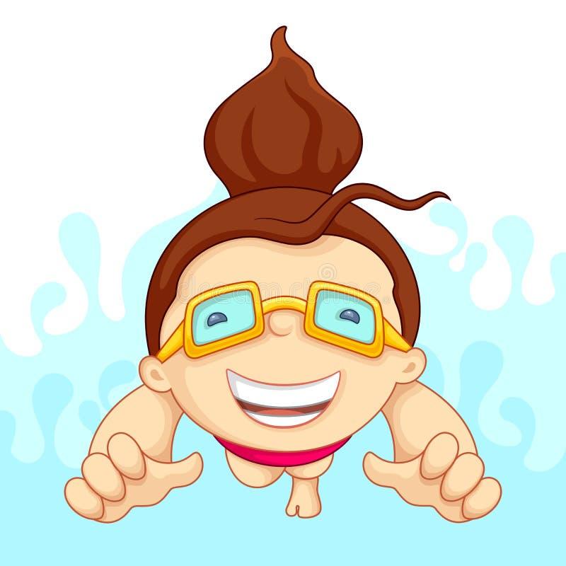 заплывание бассеина девушки иллюстрация штока