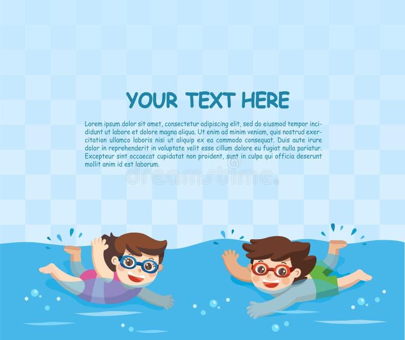 Заплывание мальчика и девушки в бассейне иллюстрация вектора