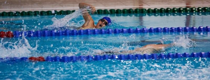 Заплывание мальчика на бассейне спорта стоковые фото
