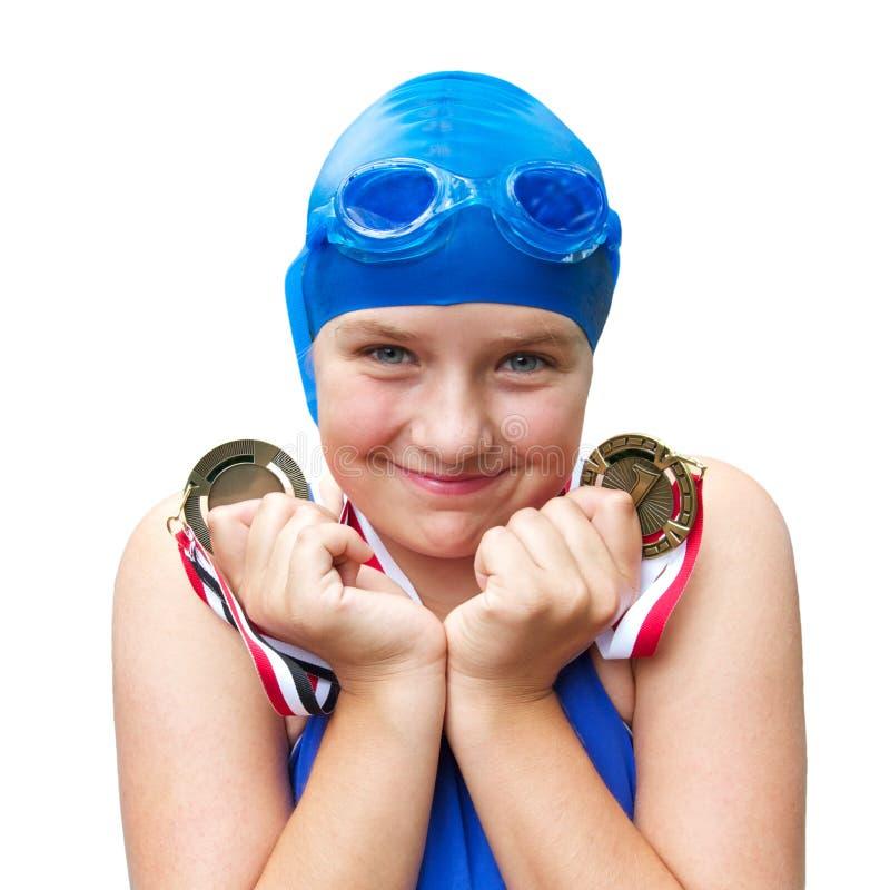 заплывание медалей девушки самолюбивое сь стоковая фотография rf