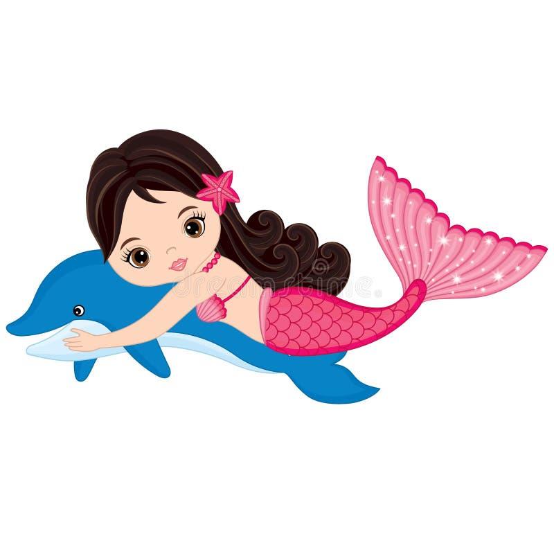 Милая русалка и дельфин иллюстрация вектора. иллюстрации ...