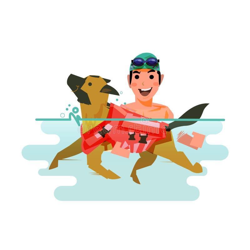 Заплывание собаки с предпринимателем любимчик учит поплавать концепция - иллюстрация вектора