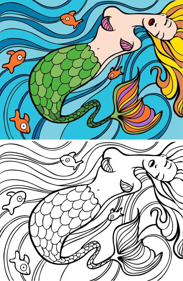 заплывание mermaid иллюстрация штока