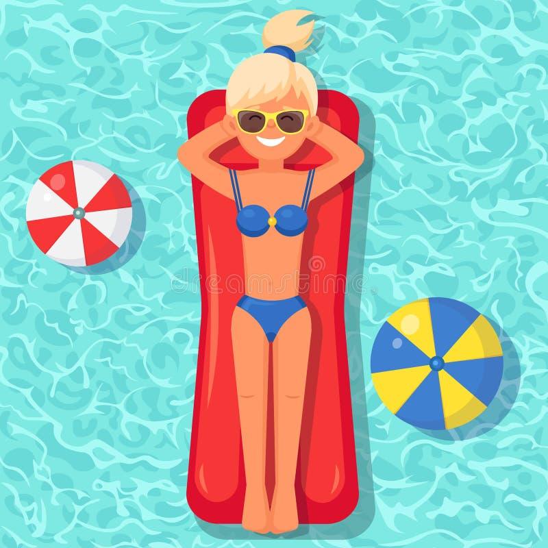 Заплывы девушки улыбки, загорая на тюфяке воздуха в бассейне Женщина плавая на игрушку изолированную на предпосылке воды Раздувно бесплатная иллюстрация