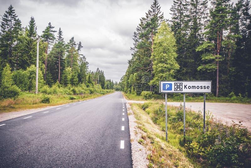 Заповедник Komosse в Швеции со знаком стоковое фото rf