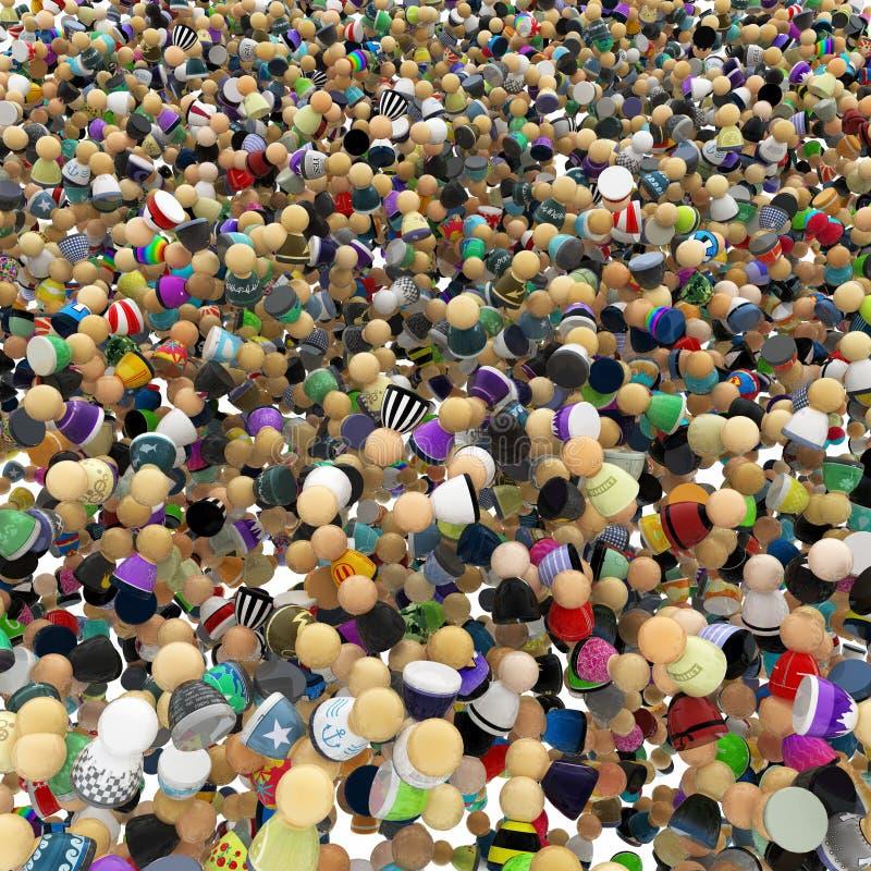 заполнение толпы шаржа иллюстрация вектора