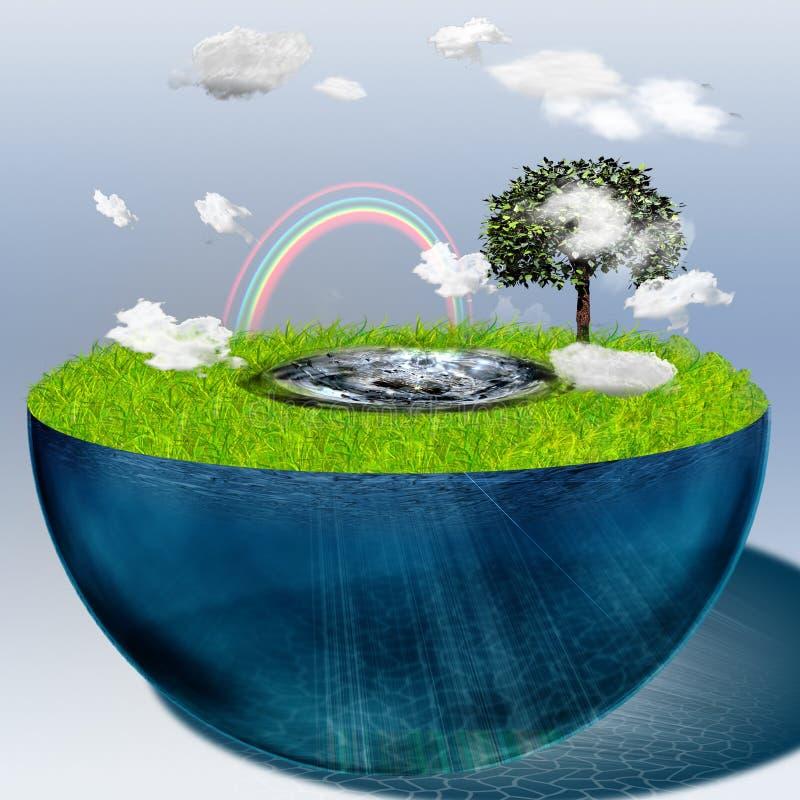заполненная вода половинной сферы иллюстрация штока