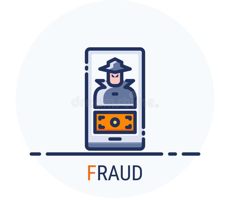 Заполненная линия стиль значков Очковтирательство нападения преступления кибер хакера для веб-дизайна, ui, ux, мобильной сети, об иллюстрация штока