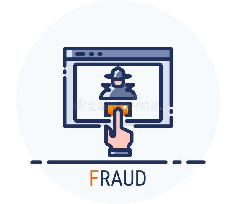 Заполненная линия стиль значков Очковтирательство нападения преступления кибер хакера для веб-дизайна, ui, ux, мобильной сети, об бесплатная иллюстрация