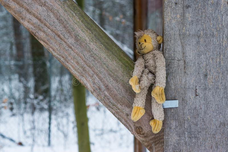 Заполненная обезьяна снаружи между некоторыми деревянными балками во время зимы, прелестной игрушкой объятия для детей и взрослым стоковое фото rf