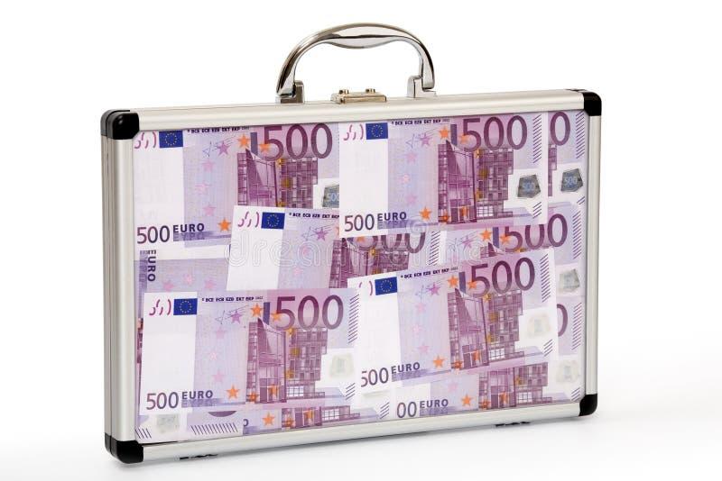 заполненное евро замечает чемодан стоковые фотографии rf