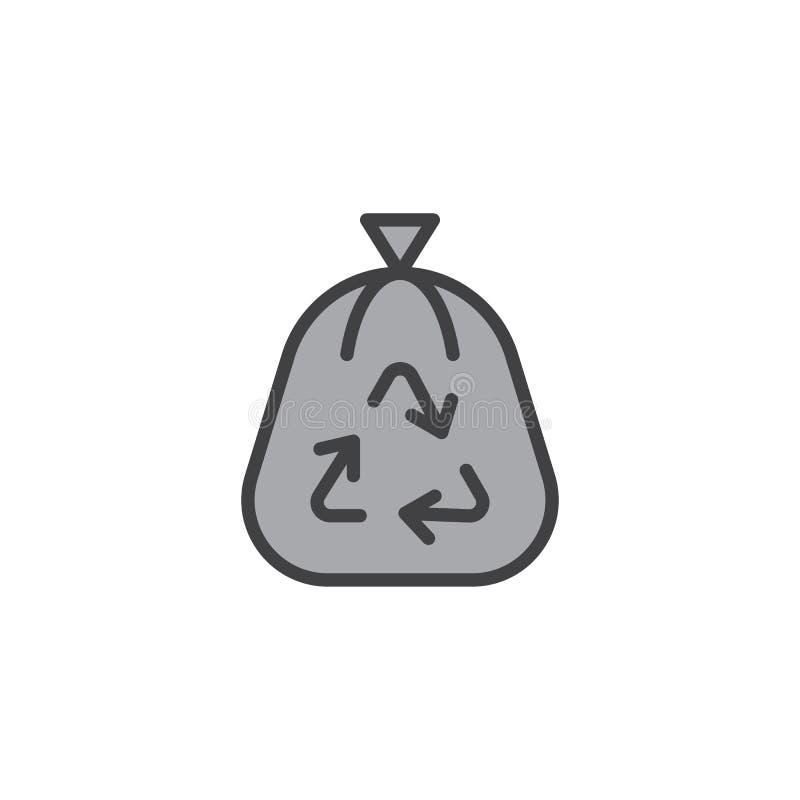 Заполненный мешком для мусора значок плана иллюстрация штока