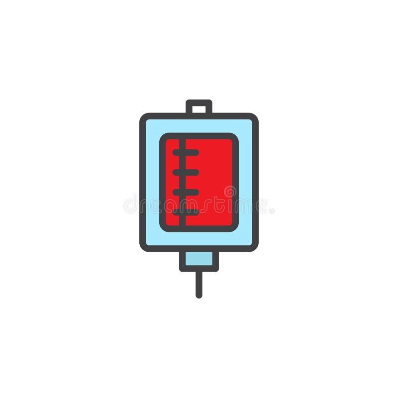 Заполненный переливанием крови значок плана иллюстрация вектора