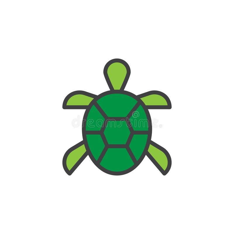 Заполненный черепахой значок плана иллюстрация вектора